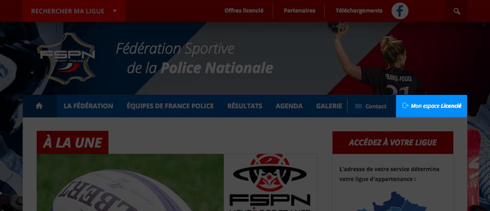 Visuel de la page d'accueil du site internet sur mesure pour la fédération sportive de la police nationale