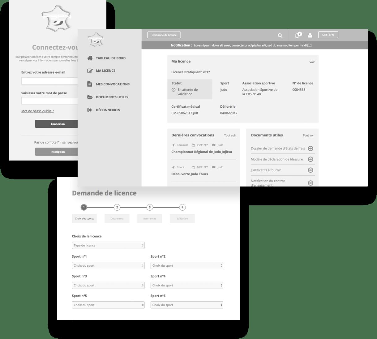 UX/UI pour la création de l'application web de la fédération sportive de la police nationale