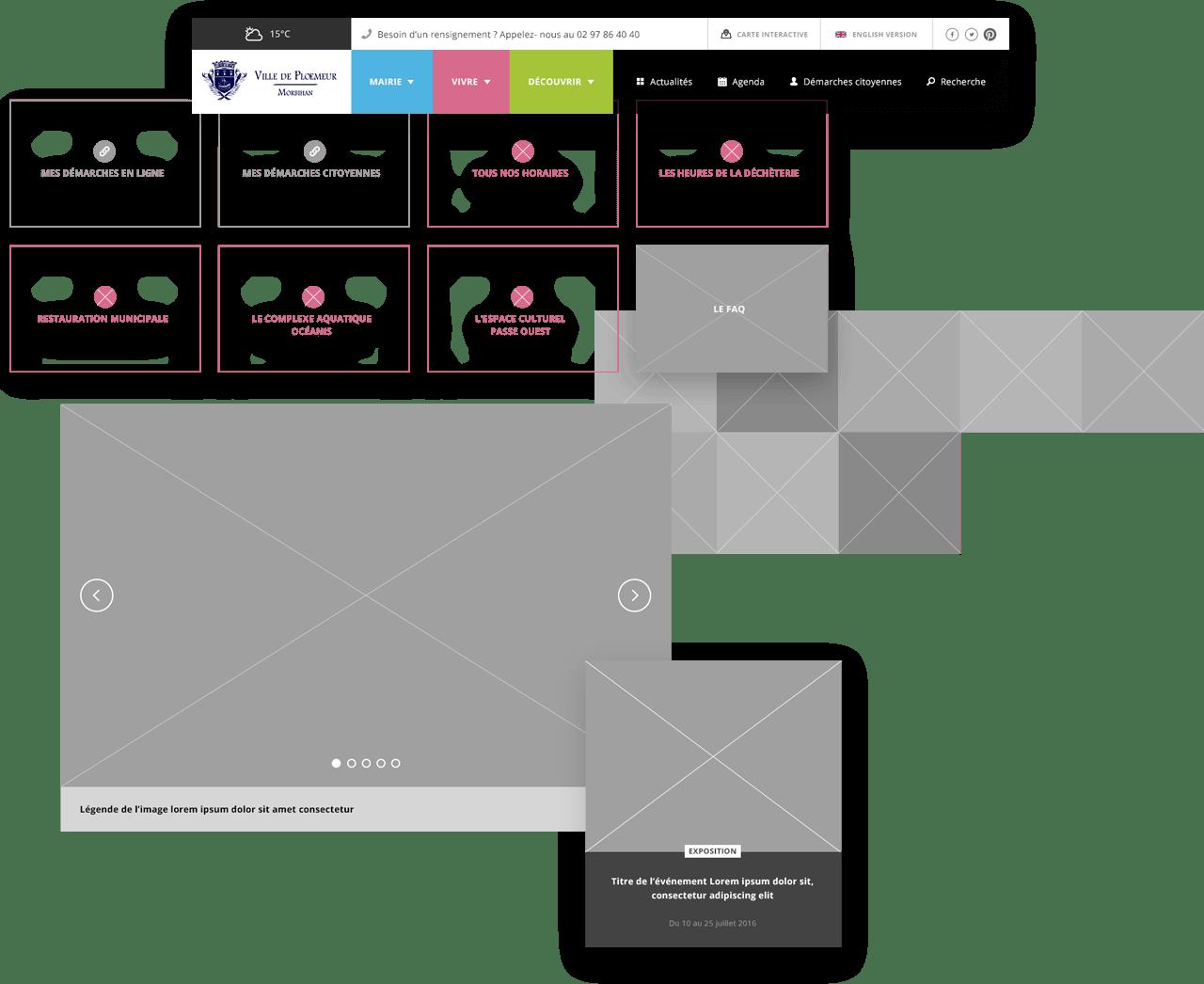 Image des étapes de conception UX du site la ville
