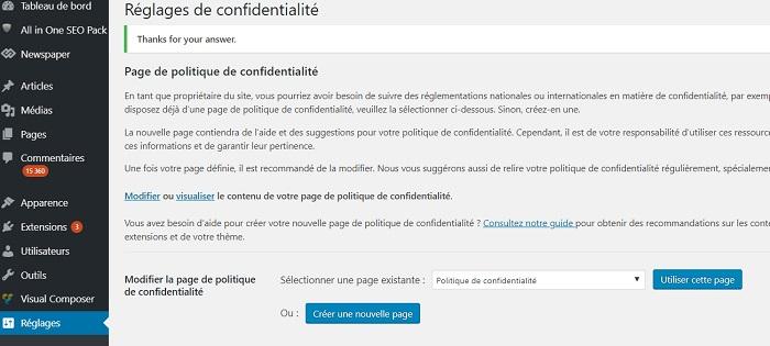 page politique de confidentialité wordpress